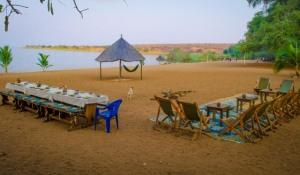 Dinner and games at Ndole Bay Lodge on Lake Tanganyika